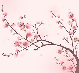Oriental style painting, cherry blossom in spring