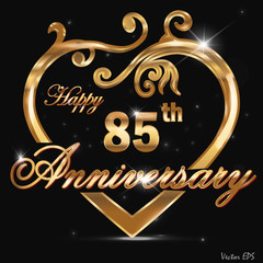 85 year anniversary golden heart design