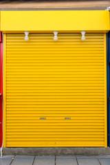 old yellow steel door