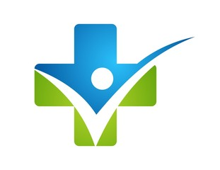medicine health icon,point plus nature logo people check symbol