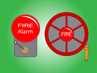 Alarm bell and Fire hose reel