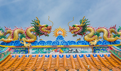 dragon decoreted on roof chinese temple