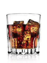 Faceted glass with cold cola