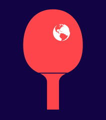 Table tennis racket with the Earth as a ball