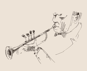 JAZZ concept, jazzman vintage illustration, engraved style