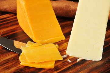 White and yellow cheddar cheeses