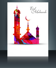 Mosque for grunge brochure colorful template eid mubarak card re