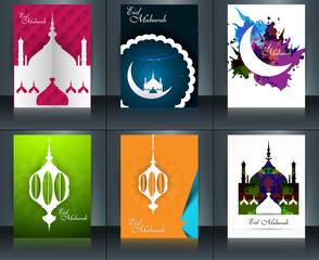 Mosque with colorful eid mubarak brochure reflection collection