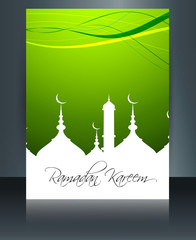 Mosque with bright colorful brochure Ramadan Kareem template on