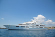 canvas print picture - Luxury large super or mega motor yacht in the blue sea.