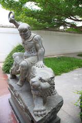 Chinese people statue in a garden temple