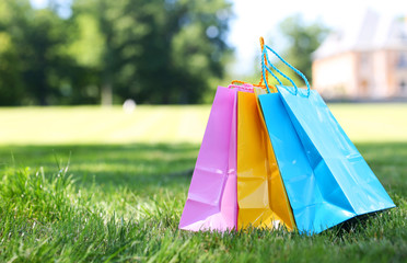 Colorful Shopping Bags on Green Grass