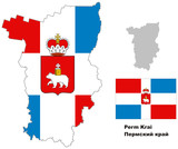 outline map of Perm Krai with flag poster