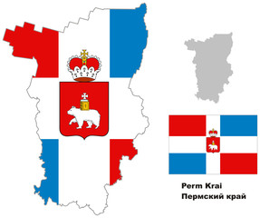 outline map of Perm Krai with flag