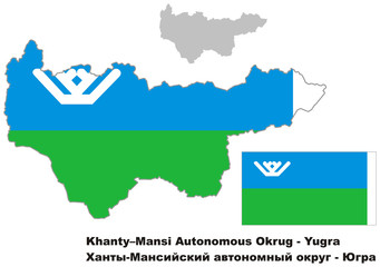 outline map of Khanty-Mansi Autonomous Okrug with flag
