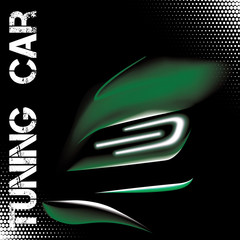 Abstract illustration with green tuning sports car