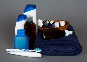 Toilet accessories, towel, toothbrush, toothpaste