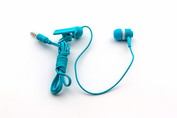 Blue earphones.