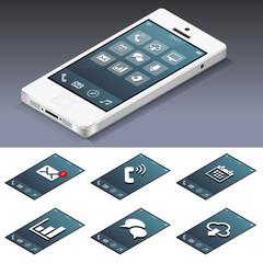Smartphone isométrique blanc