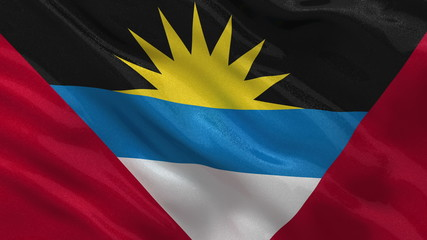 Flag of Antigua and Babruda waving in the wind seamless loop