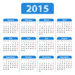 English Calendar 2015 blue. Mondays first