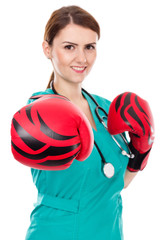 Female doctor with boxing gloves ,challenge concept