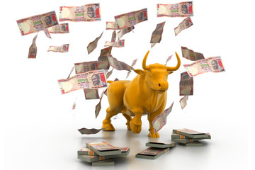 Business bull and money