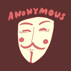 mask anonymous vector illustration, hand drawn