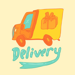 delivery truck vector illustration, hand drawn