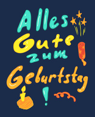 Happy Birthday (German) vector illustration, hand drawn