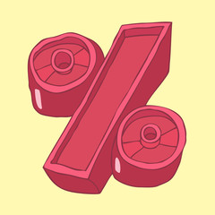percent (percentage) vector illustration, hand drawn