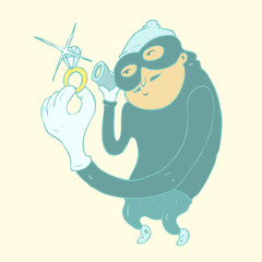 Robber in mask vector illustration, hand drawn