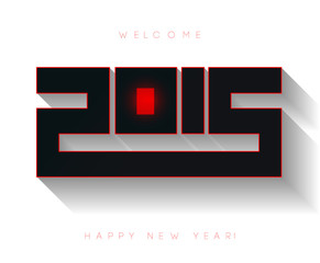 Happy new year 2015, typographic 3d illustration