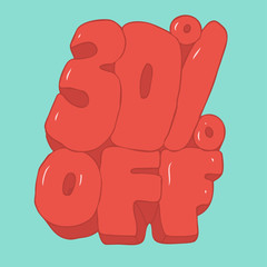30 percent discount vector illustration, hand drawn