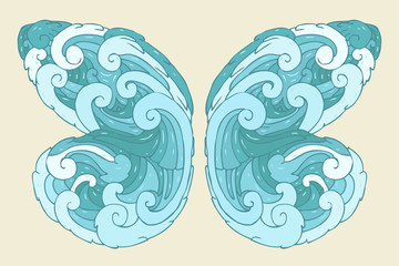 butterfly wings vector illustration, hand drawn