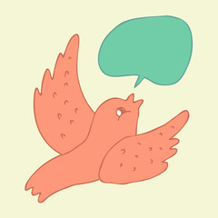 cartoon flying bird with voice bubble  vector illustration