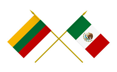Flags, Lithuania and Mexico