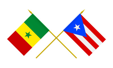 Flags, Puerto Rico and Senegal