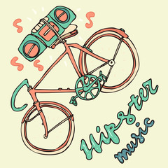 Hipsters bicycle with tape recorder vector illustration