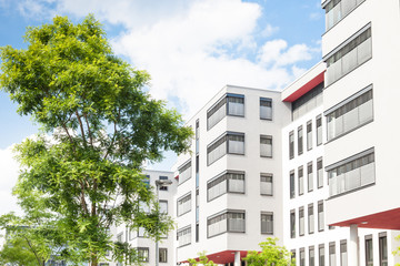 modernes Haus in Deutschland - Bürogebäude und Bäume