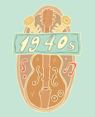 classical music banner vector illustration, hand drawn