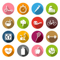 Healthy Lifestyle Icons - Flatdesign
