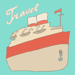 steamer (cruise liner, ship) vector illustration, hand drawn