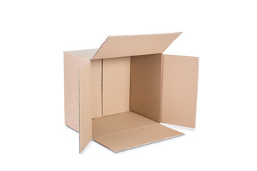 Cardboard box on white background.