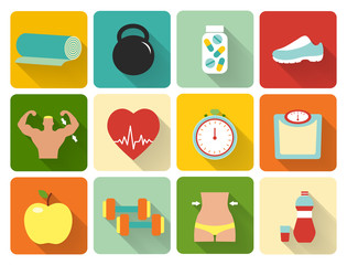 flat healthy life icons