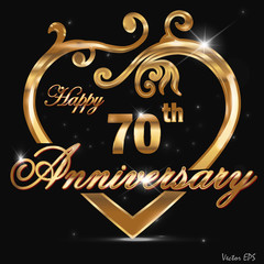 70 year anniversary golden heart design
