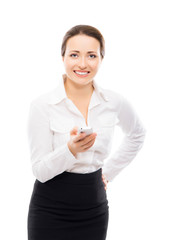 Confident, successful and beautiful businesswoman with a phone