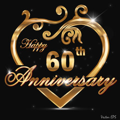 60 year anniversary golden heart design