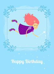 Birthday card with fairy