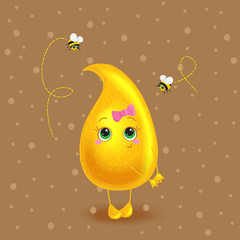 Honey drop. Vector character. Cute cartoon.